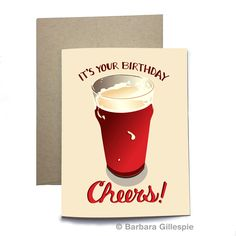 Share a birthday beer with your buddy. Cheers! - Original greeting card design by flopsockdesigns on Etsy - Blank inside - Professionally offset printed on 14 pt. uncoated cover stock, using environmentally friendly soy inks - Comes with a matching kraft (tan) envelope - Re-pin for later