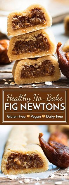 No-Bake Healthy Gluten-Free Fig Newtons A healthy fig newton recipe that does not require any baking and is made without refined sugar. A kid-friendly, healthy, gluten free and dairy free snack or dessert! (healthy snacks no bake) Dairy Free Snacks, Gluten Free Desserts, Dairy Free Recipes, Healthy Gluten Free Snacks, Vegan Sweets, Healthy Baking, Healthy Desserts, Healthy Drinks, Fig Recipes Healthy