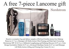 Receive a free 7-piece Lancome gift with any $45 purchase at Nordstrom (online only) Lancome Gift Set, Lancome Gift With Purchase, Eye Makeup Remover, Free Makeup, Cosmetic Bag, Mascara, Diaper Bag, Nordstrom, Cosmetics