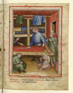 Nouvelle acquisition latine 1673, fol. 94, Marchand de vêtements de laine. Tacuinum sanitatis, Milano or Pavie (Italy), 1390-1400.