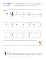 Lowercase y letter tracing worksheet, with easy-to-follow arrows showing the proper formation of the letter.