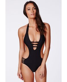 c0834702a8 Sovoyant Women s Halter cheeky Backless One Piece Monokini Swimsuit Petite  Size