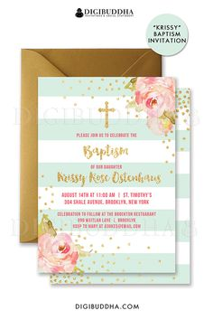 Mint & gold striped baptism invitations with boho chic pink watercolor peonies and gold glitter confetti dots. Choose from ready made printed invitations with envelopes or printable christening invitations. Gold shimmer envelopes also available. digibuddha.com