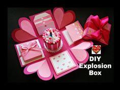 explosion box tutorial birthday box how to make explosion box Diy Birthday Explosion Box, Exploding Gift Box, Birthday Box, Happy Birthday Cards, Diy Gift Box, Diy Box, Boite Explosive, Box Cards Tutorial, Card Tutorials