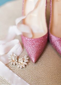 Pink Glitter Louboutins | Tracy Enoch Photography | http://heyweddinglady.com/sparkling-valentines-day-ideas-pink-red/
