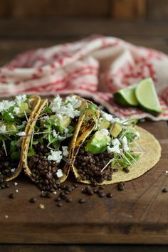 Chipotle Lentil Tacos with Avocado and Micro Greens