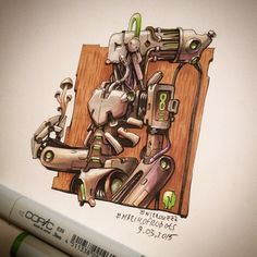 March of Robots Sketches by Nitro Browsing through the results of March of Robots , the annual month-long drawing challenge on Ins. Copic Marker Art, Copic Art, Copic Markers, Doodle Characters, Graffiti Characters, Character Concept, Concept Art, Character Design, Robot Sketch