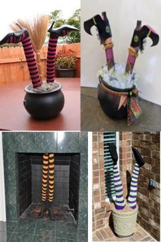 Crashed witch legs - Dollar Tree pool noodles and inexpensive stockings (or old crazy socks!)