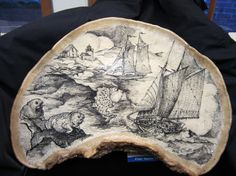 A truly unique original ink drawing on a fully varnished rustic, woodland polypore. These bracket or shelf fungus grow on hardwood trees. Mushroom Art, Camping Crafts, Christmas Wood, Nature Crafts, Ancient Art, Wood Carving, Art Forms, Folk Art, Arts And Crafts