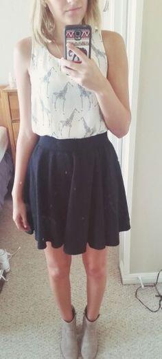 #ootd black skater skirt. Giraffe tank. Ankle boots.