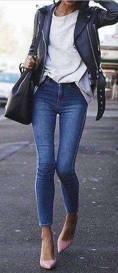 #winter #fashion / Negro Chaqueta de motorista / blanco / Top flacos los pantalones vaqueros / los talones rosados