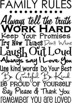 Family Rules - Popular Quotes Pins on Pinterest