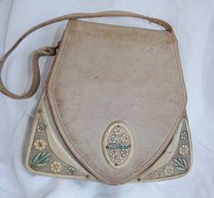 Unusual 1930s Vintage Leather Bag Clutch Purse w/ Celluloid Flower Trim. $40.00, via Etsy.