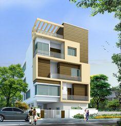 163 Duplex House Design, House Front Design, Modern House Design, Building Elevation, House Elevation, Building Front, Building A House, Architecture Plan, Contemporary Architecture