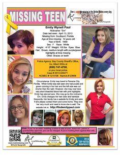Emily Paul Missing - April 13 2013 - FLorida