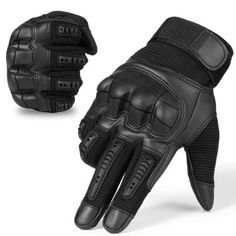 Touch Screen Tactical Rubber Hard Knuckle Full Finger Gloves Military Army Paintball Airsoft Bicycle Combat PU Leather Glove Men Color Black Gloves Size S Tactical Wear, Tactical Gloves, Tactical Clothing, Tactical Armor, Military Tactical Gear, Cool Tactical Gear, Kevlar Clothing, Tactical Life, Hunting Gloves