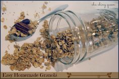 Homemade Granola Recipe. Easy and Healthy.  Add whatever else you like… nuts, dried fruit, etc.