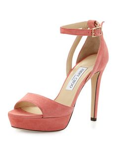 Kayden Suede Ankle-Wrap Sandal, Coral Pink by Jimmy Choo at Neiman Marcus.