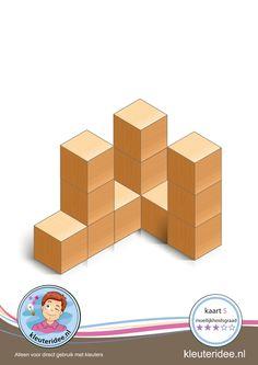 Bouwkaart blokjes 5 moeilijkheidsgraad 3 voor kleuters, kleuteridee, Preschool card building blocks with toddlers 5, difficulty 3.