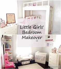Little Girls' Bedroom Makeover, Triple Bunk Beds, Dresser with Butterflies, Puppet Theater, Floating Shelves, Corner Bookcase, Chalk Painted Upholstered Bench, Play Kitchen, Closet Organization