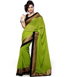 Green Plain Georgette Saree Is Totally Fashion Saree Designed Completely As Per The Needs Of Women And Women Looks Beautiful When She Drapes It. Bridal Sarees Online, Bollywood Sarees Online, Indian Sarees Online, Buy Sarees Online, Plain Chiffon Saree, Plain Georgette Saree, Plain Saree, Georgette Fabric, Indian Designer Sarees