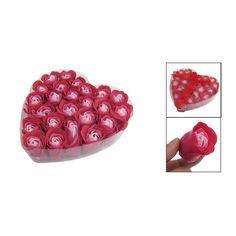 Belleza Venta Caliente 24 Unids Práctica Red Perfumado Jabón de Baño de Rose Petal Sabor en Caja de Corazón