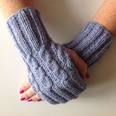 Ladies Bluebell Blue Cable Stitch Hand Warmers. Hand by sewmoira