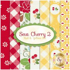 "Sew Cherry 2 7 FQ Set - Red & Yellow Set by Lori Holt for Riley Blake Designs Sew Cherry 2  is a collection by Lori Holt for Riley Blake Designs. 100% Cotton. This set contains 7 fat quarters, each measuring approximately 18"" x 21""."