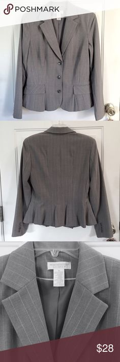 Jacket by Worthington (Stretch) Size 10 Light Gray Jacket with White Pinstripes Pleated Back Polyester Rayon & Spandex Size 10 Very Good Condition! Sharp! Worthington Jackets & Coats Blazers