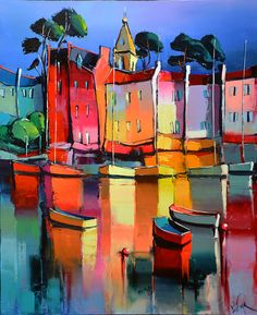 Et ailleurs Eric Le Pape Easy Canvas Painting, Boat Painting, Boat Art, Fashion Painting, Naive Art, Acrylic Art, Land Scape, Painting Inspiration, Art Pictures