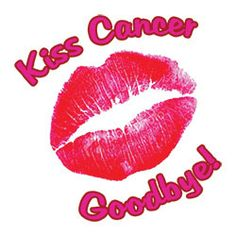"This is a 2"" x 2"" temporary tattoo that proudly says ""Kiss cancer goodbye"" with a pink lip print. Perfect for Relay for Life events. We have many Relay for LIfe Temporary Tattoo design ideas."