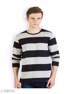 Tshirts Men's Trendy Cotton Solid T-Shirt  *Fabric* Cotton  *Sleeves* Full Sleeves Are Included  *Size* S, M, L, XL,XXL (Refer Size Chart)  *Length* Refer Size Chart  *Fit* Regular Fit  *Type* Stitched  *Description* It Has 1 Piece of Men's T-Shirt  *Pattern * Striped  *Sizes Available* XXS, XS, S, M, L, XL, XXL, XXXL, 4XL, 5XL, 6XL, 7XL, 8XL, 9XL, 10XL, Free Size *    Catalog Name: Rigo Men's Stylish Cotton Solid T-Shirts Vol 3 CatalogID_123827 C70-SC1205 Code: 692-1025100-
