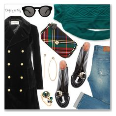 """Outfit of the Day"" by dressedbyrose ❤ liked on Polyvore featuring J.Crew, Rochas, Yves Saint Laurent, Dooney & Bourke, Givenchy, BIBI VAN DER VELDEN, Michael Kors and Petit Bateau"