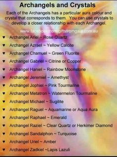 Archangel Crystals for Reiki Healing Archangel Azrael, Archangel Michael, Archangel Prayers, Aura Colors, Angel Guidance, Angel Cards, Guardian Angels, Spirit Guides, Krystal