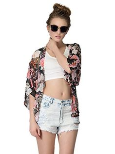 "Choies Women's Chiffon Floral Kimono Loose Kimono Cardigan Blouse M. S:Shoulder:38cm,Bust:112cm/44.09in,Length:63cm/24.8in<br/> M:Shoulder:39cm,Bust:116cm/45.67in,Length:64cm/25.2in<br/> L:Shoulder:40cm,Bust:120cm/47.24in,Length:65cm/25.59in<br/>. Chiffon. Floral. We have registered Trademark ""CHOiES"". Hand Wash in Cold Please."