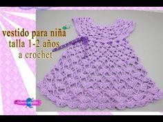 VESTIDO PARA NIÑA TALLA 1-2 AÑOS A CROCHET. | Labores Angélika | - YouTube Crochet Baby Dress Pattern, Crochet Baby Clothes, Crochet Hats, Crochet Toddler, Crochet For Kids, Baby Knitting Free, Crochet Videos, Toddler Girl Dresses, Baby Sweaters
