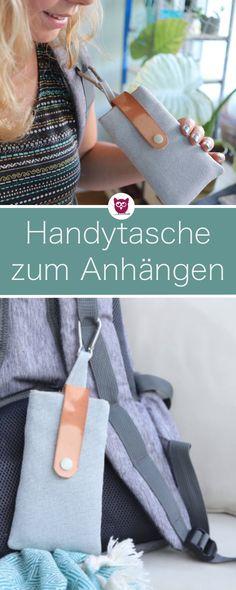 Handytasche mit Karabiner Nähen zum Einhaken und anhängen am Rucksack nähen. Die Nähanleitung für diese Handyhülle ist super schnell und die Tasche ist extrem praktisch. Videoanleitung von DIY Eule.