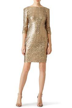 7b4ccd4ebc40 Gold Sequin Sheath by Badgley Mischka Sequin Cocktail Dress