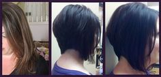 Deep red-violet color and disconnected bob.  Designed by Carla  Paul Hyland Salon and Day Spa, Crystal Lake, Illinois