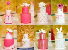 This couple served individual small cakes to each guest instead of one large #wedding cake.