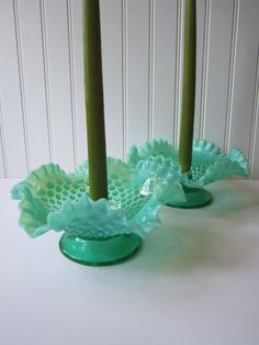 Vintage Fenton Hobnail Blue Green Opalescent Candle - loving the color