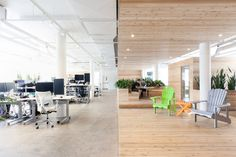 Wooden walkway traverses OVH office interior by Pierre Thibault