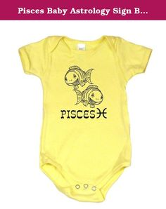 Pisces Baby Astrology Sign Baby Bodysuit, 6-12 mo, Yellow. Hand drawn vintage toys turned into astrology signs make this a special shirt. Great birthday gift. This unique design is printed on a 100 percent cotton yellow baby onesie, made in the USA and printed in Portland, Oregon. Select from a wide variety of colors and sizes, allowing you to create gender neutral baby clothes, baby boy onesies or baby girl onesies. Each design is a Baby Wit original making these unique gifts for babies…