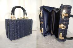 Vintage 1950s Handbag / Blue Box Bag / 50s Basket Purse / Blue Lunch Box Purse / 1950s Summer Purse by RockabillyRavenVtg on Etsy
