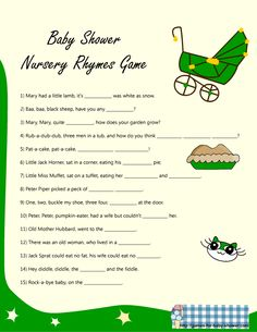 baby word scramble template   Nursery rhyme game for baby shower in green color