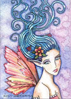 Fairy Art: Molly Harrison - Blue in the Wind Domino Crafts, Mermaid Artwork, Fairy Pictures, Fairy Coloring, Decoupage, Fairytale Art, Fantasy Inspiration, Fairy Art, Art Portfolio
