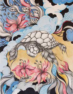 Абстракция ручной работы. Ярмарка Мастеров - ручная работа. Купить Картина на бумаге Черепаха. Handmade. Голубой, черепаха, картина для интерьера
