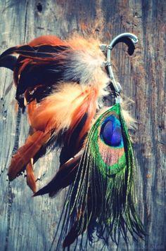 #tribal #peacock feather ear cuff