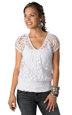 0164a7f85d1ebf Ariat® Women s White Lace Short Sleeve Fashion Top