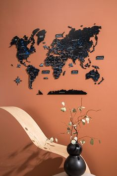 3D Wooden World Map by GaDenMap. Color: BLACK CAVIAR. Push Pin Map, Travel Map with Pins, World Map Wall Art Wood. Wood World Map can be used as a travel map. Pin board for your ideas, business development places, travel destination and just random notes of happiness. Large wall art decor and a place for inspiration! #mapwalldecor #homedecorideas #nurserydecor